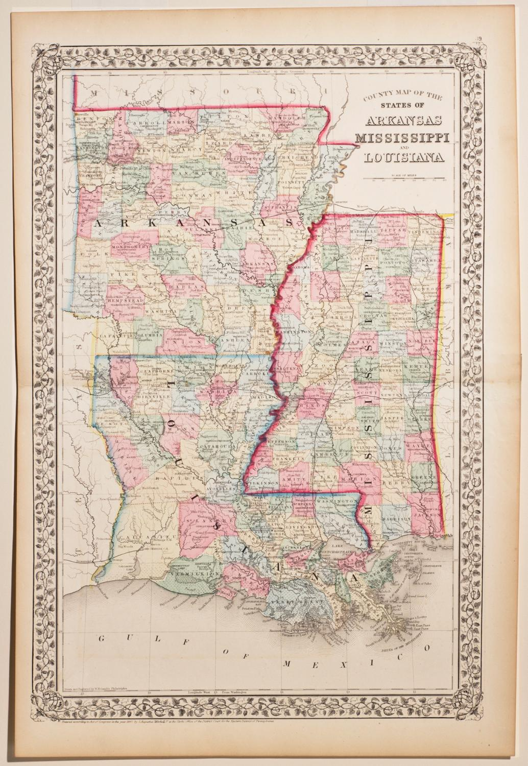 Mississippi And Louisiana Map.County Map Of The State Of Arkansas Mississippi Louisiana By S