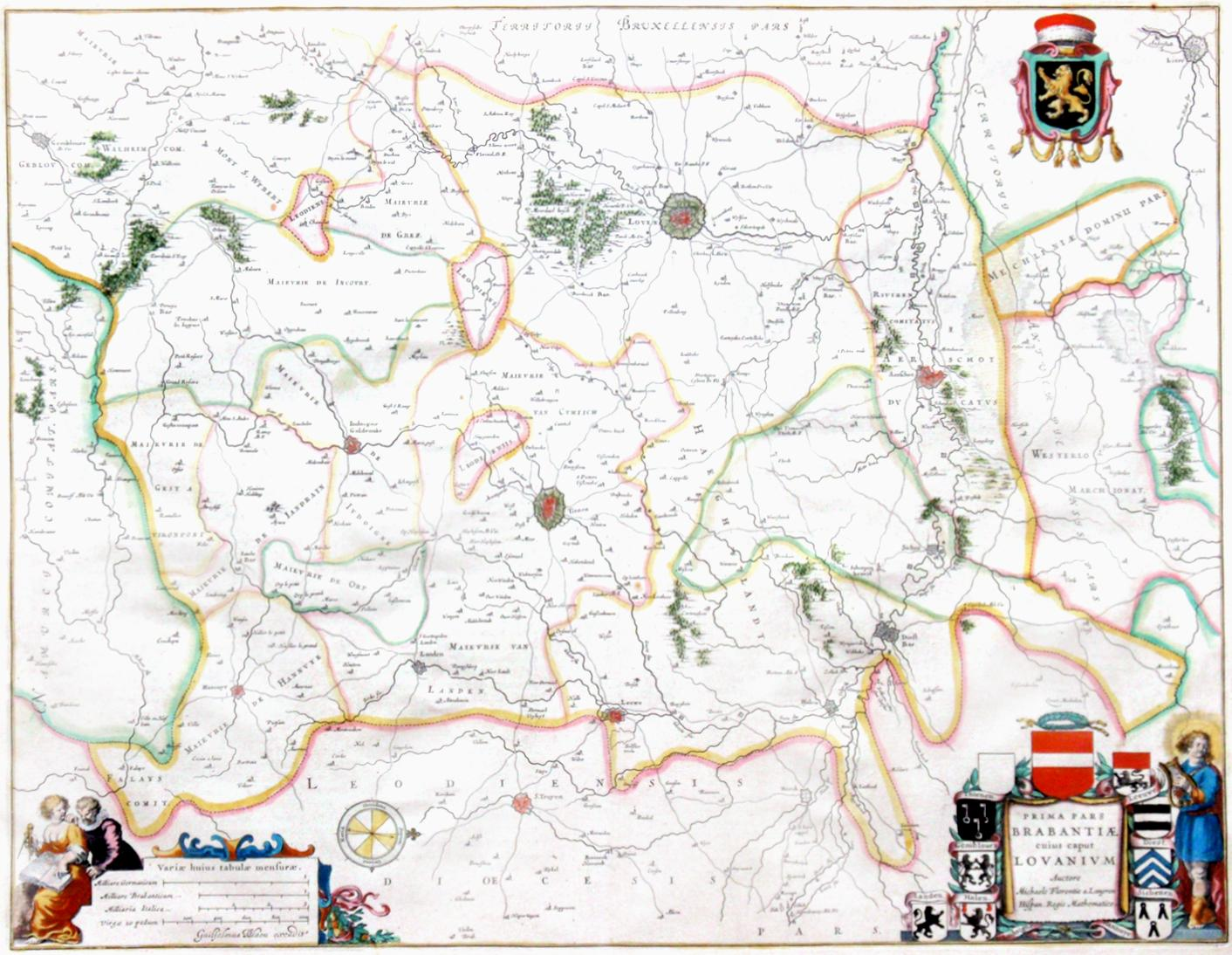 Prima Pars Brabantiaecuius Caput Lovanium Map Of Louvain Region Of - Pars map