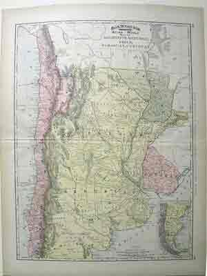 map of Argentine Republic, Chile, Paraguay and Uraguay