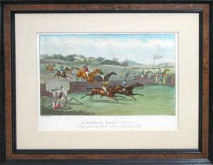A set of four engravings from A Hurdle Race: Samuel Henry Alken