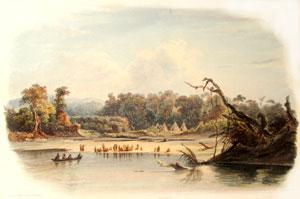 Punka Indians Encamped on the Banks of the Missouri [Vig. XI]