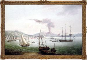 An English frigate amidst much activity in: John Thomas Serres