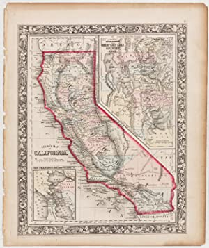 County Map of California with insets of San Francisco Bay & Great Salt Lake Country, Utah (1862)