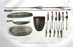 ustensiles et armes des habitans du detroit de behring, Pl. III (Utensils and Arms from the inhab...