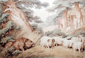 The Wild Boar, the Sheep, and the Butcher: Samuel Howitt