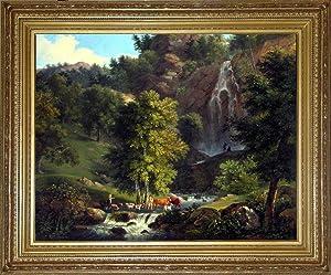 The small gorge at Tivoli (oil painting): Henri Joseph Boichard (Versailles, 1723-1850)