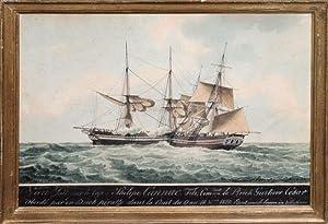 Le Brick Gustave Cesar. 1820 (shown under pirate attack): Mathieu Antoine Roux (1799-1872)