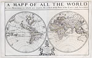 A Mapp of all the World in two Hemispheres in which are exactly described all the parts of the Ea...