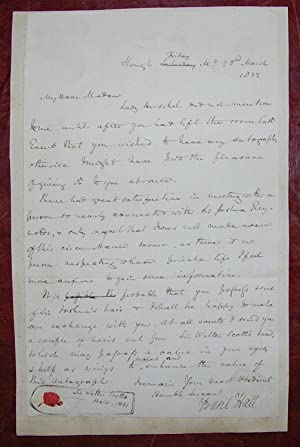 """Autograph Letter Signed (""""Basil Hall"""") to """"My: HALL, Basil (1788-1844)."""