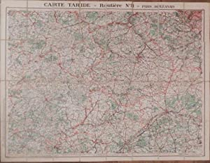 Carte Taride - Routiere No. 8 - Paris Orleanais.