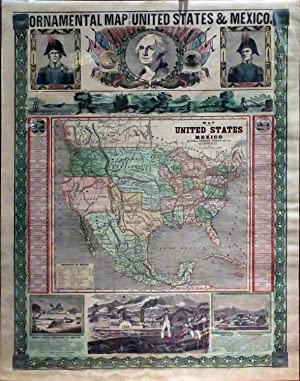 Ornamental Map of the United States & Mexico