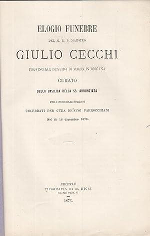 ELOGIO FUNEBRE DEL M.R.P. MAESTRO GIULIO CECCHI