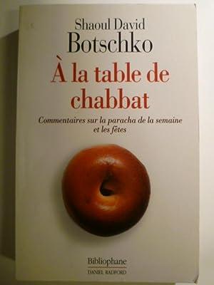 À la table du chabbat. Commentaires sur: BOTSCHKO Shaoul David,