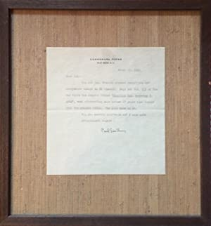 CARL SANDBURG: A TYPED LETTER SIGNED (TLS) REGARDING