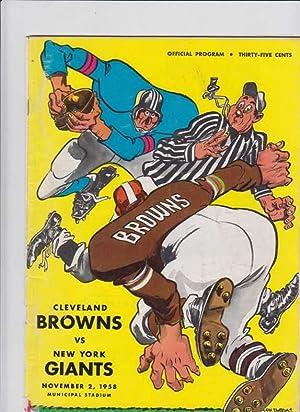 CLEVELAND BROWNS VS NEW YORK GIANTS, NOVEMBER 2, 1958, MUNICIAPAL STADIUM, OFFICIAL PROGRAM: ...