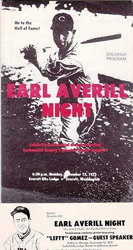 Earl Averill Night: Celebrity Testimonial Dinner Honoring Snohomish County's Greatest Major ...