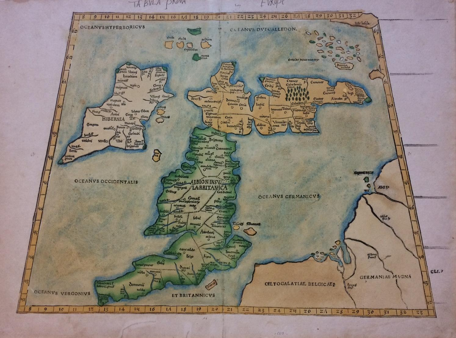 Tabula prima europe iconic waldseemuller map with scotland on an tabula prima europe iconic waldseemuller map with scotland on an east west orientation gumiabroncs Image collections