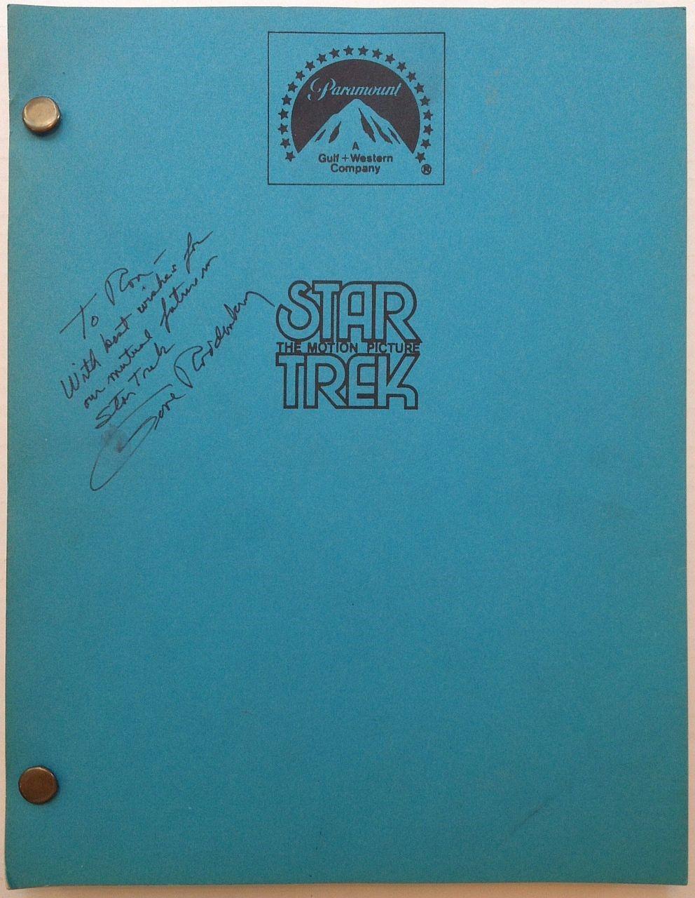 """Inscribed """"""""Star Trek"""""""" Shooting Script RODDENBERRY, Gene"""