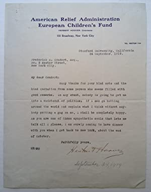 Typed Letter Signed on scarce letterhead