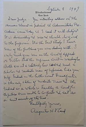 Autographed Letter Signed to Judge Bernard Shientag