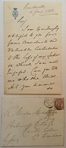 Autographed Letter Signed: LYTTON, Edward Robert Bulwer (1831 - 1891)