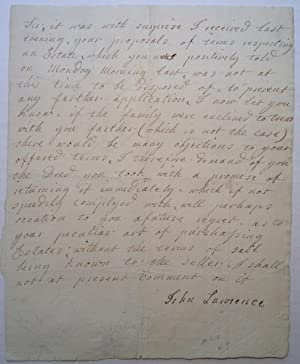 Autographed Letter Signed about a real estate deed