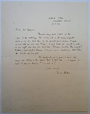 Autographed Letter Signed to Pulitzer Prize-winning poet Leonora Speyer