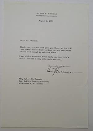 Typed Letter Signed on personal stationery: TRUMAN, Harry S.