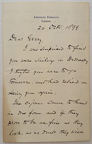 """Autographed Letter Signed on """"American Embassy"""" letterhead: CHOATE, Joseph H."""