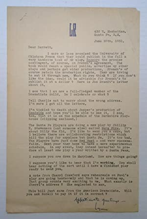 Typed Letter Signed with theatre news: RIGGS, Lynn