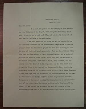 Typed Letter Signed about child labor laws