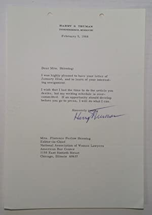 Typed Letter Signed to Florence Shientag: TRUMAN, Harry S.
