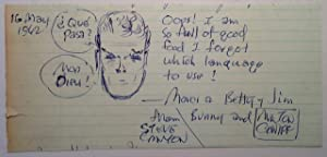Autographed Note Signed with an original Steve Canyon sketch