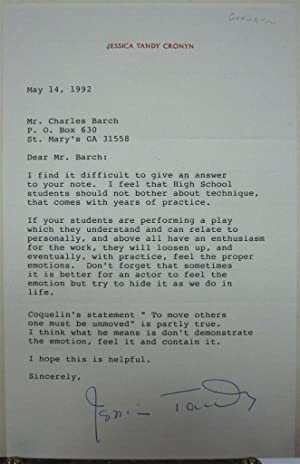 Typed Letter Signed on personal stationery: TANDY, Jessica (1909 - 1994)
