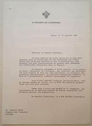 Typed Letter Signed in French on Presidential Letterhead