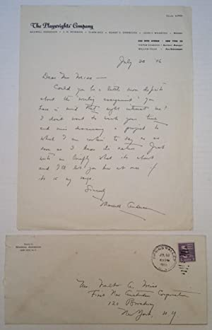 """Autographed Letter Signed on """"The Playwrights' Company"""": ANDERSON, Maxwell (1888"""