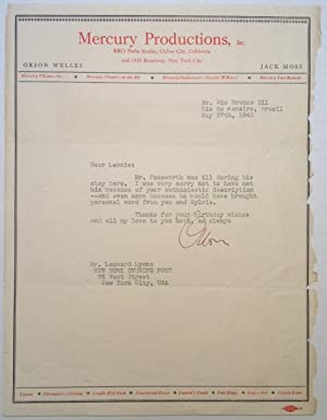 """Typed Letter Signed on """"Mercury Productions"""" letterhead: WELLES, Orson (1915 - 1985)"""