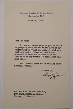 Typed Letter Signed on Supreme Court letterhead