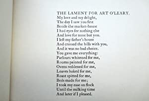 A Lament for Art O'Leary: Tranlsated from: O'CONNELL, Eileen, O'CONNOR,