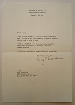 Typed Letter Signed with one Handwritten Correction: TRUMAN, Harry S.