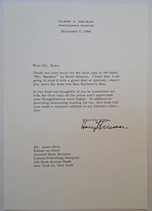 Typer Letter Signed on Personal Stationery: TRUMAN, Harry S.