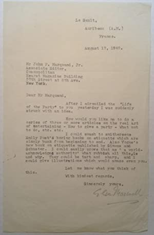 Typed Letter Signed to editor J.P. Marquand