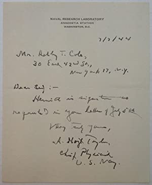 """Autographed Letter Signed on """"Naval Research Laboratory"""": TAYLOR, Albert Hoyt"""