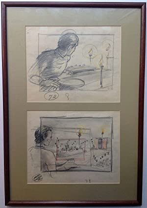 Three framed original cartoons from
