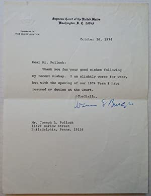 Typed Letter Signed on Supreme Court stationery