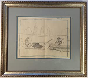 Framed original animation production drawing from the 1939 Betty Boop short