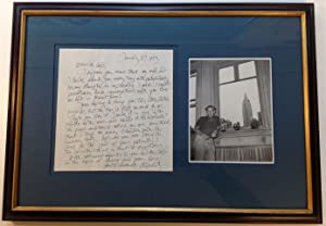 Framed Autographed Letter Signed mentioning his sculpture