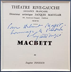 Framed Theatre Program Inscribed in French