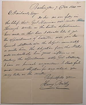 Autographed Letter Signed: PATRONAGE POLITICS IN VERMONT IN 1840)