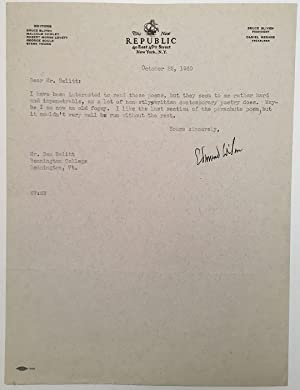 "Typed Letter Signed on ""New Republic"" letterhead: WILSON, Edmund (1895 - 1972)"